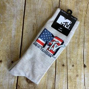 MTV Music Television Beige Crew Socks Mens 10-13